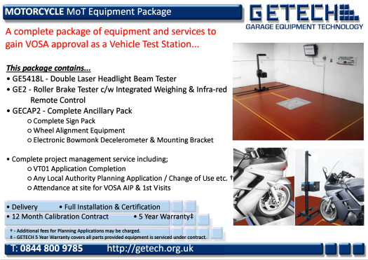 GETECH Motorcycle MoT Bay Package for Class 1 & 2 MoT Testing