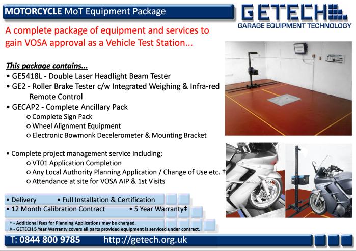 GETECH Motorcycle MoT Bay Package for Class 1 & 2 MoT Testing